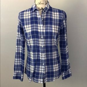 J. Crew Perfect Shirt in Blue crinkle Plaid